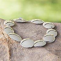 Sterling silver link bracelet, 'Moonlight Glow'