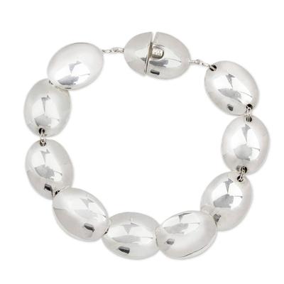 Sterling silver link bracelet, 'Moonlight Glow' - Taxco Silver Link Bracelet
