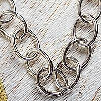 Sterling silver link necklace, 'Moonbeams' - Taxco Sterling Link Necklace