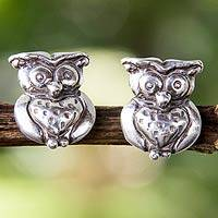 Sterling silver button earrings, 'Night Owl' - Silver Owl Button Earrings