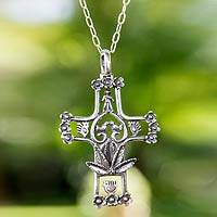 Sterling silver cross necklace, 'Life in Christ' - Tree of Life Style Silver Cross Necklace