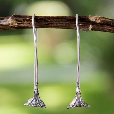 Sterling silver drop earrings, 'Lovely Lily' - Handmade Silver Floral Drop Earrings