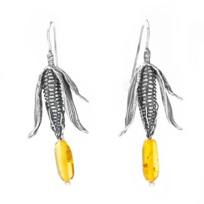 Sterling Silver and Natural Amber Mexican Earrings