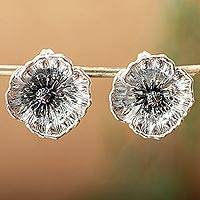 Sterling silver button earrings, 'Amazing Poppies'