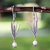 Cultured pearl dangle earrings, 'Agave Goddess' - Pearl and Sterling Silver Earrings