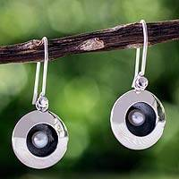 Cultured pearl dangle earrings, 'Moon Intrigue' - Taxco Silver Earrings with Cultured Pearl