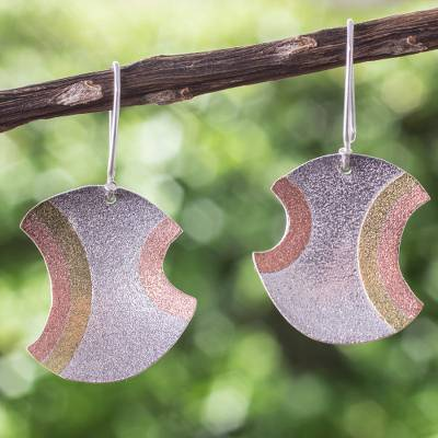 Sterling silver and copper dangle earrings, 'Ancient Eclipse' - Taxco Silver Earrings with Copper and Brass