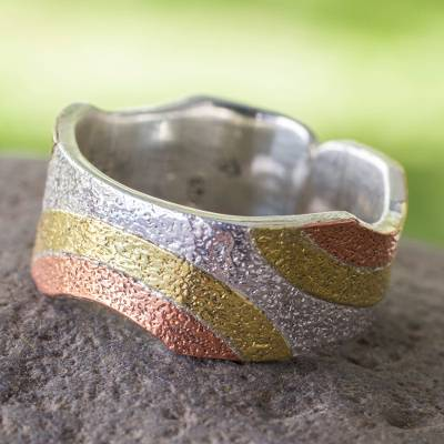 Taxco Silver Ring with Copper and Brass