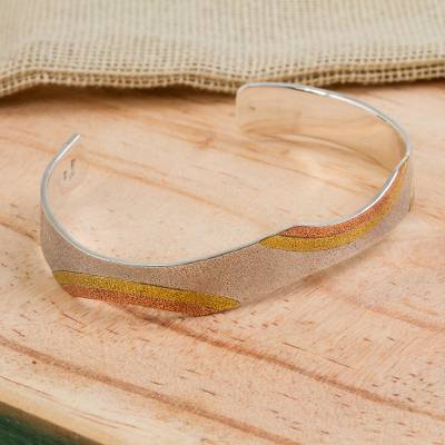 Sterling silver and copper cuff bracelet, 'Rainbow' - Taxco Silver Cuff Bracelet with Copper and Brass