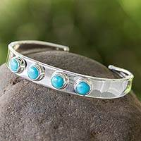 Turquoise cuff bracelet, 'Song of the Sky' - Turquoise Taxco Cuff Bracelet