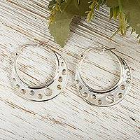 Sterling silver hoop earrings, 'Moon Landing'
