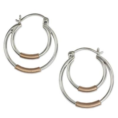 Taxco Silver Hoop Earrings with Copper
