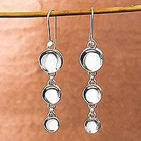 Sterling silver dangle earrings, 'Moonlight Trilogy' - Taxco Sterling Silver Dangle Earrings from Mexico