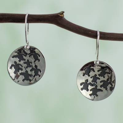 Sterling silver dangle earrings, 'Save the Turtles' - Taxco Silver Turtle Theme Earrings