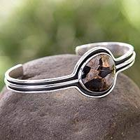 Sterling silver cuff bracelet, 'Drama' - Taxco Silver Bracelet with Composite Obsidian
