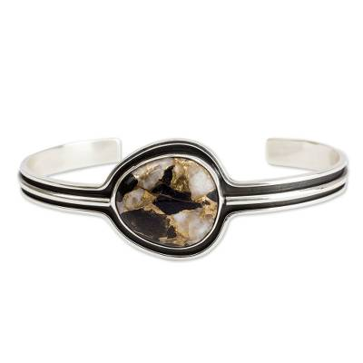 Taxco Silver Bracelet with Composite Obsidian
