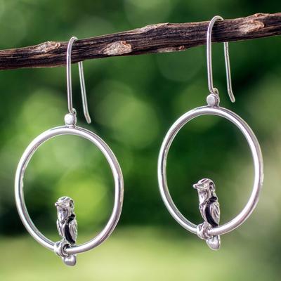 Sterling silver dangle earrings, 'Songbird' - Handmade Silver Bird Earrings from Taxco