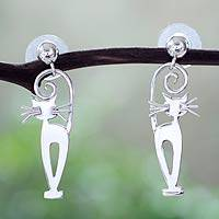Sterling silver dangle earrings, 'Taxco Cat' - Taxco Silver Kitty Cat Earrings