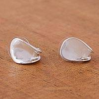 Sterling silver half hoop earrings, 'Innovation' - Taxco Half Hoop Earrings