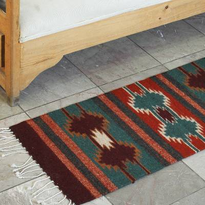 Zapotec wool runner, Star Song (1.5x6)