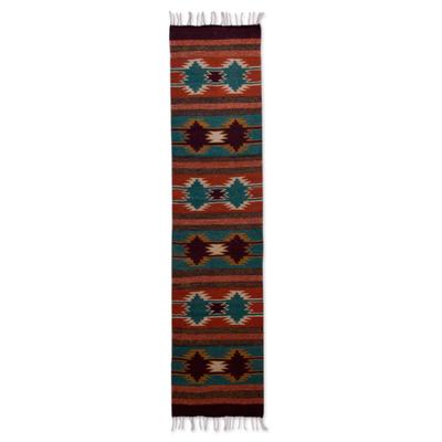 Zapotec wool runner, 'Star Song' (1.5x6) - Star Motif Wool Area Rug (1.5x6)