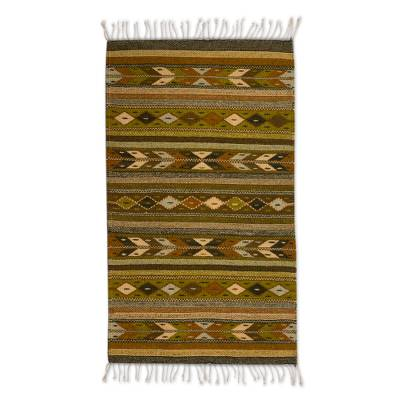 Zapotec wool rug, 'Autumn Starlight' (2x3.5) - Handwoven Zapotec Wool Accent Rug