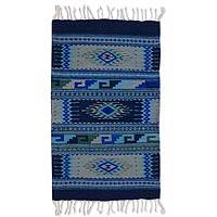 Zapotec wool rug, 'Paradise in Blue' (2x3.5)