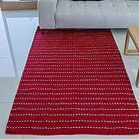 Zapotec wool runner rug, 'Intense Fire' (4x6.5)