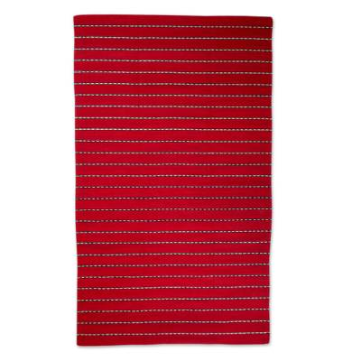 Zapotec wool runner rug, 'Intense Fire' (4x6.5) - Hand Woven Wool Zapotec Rug (4x6.5)