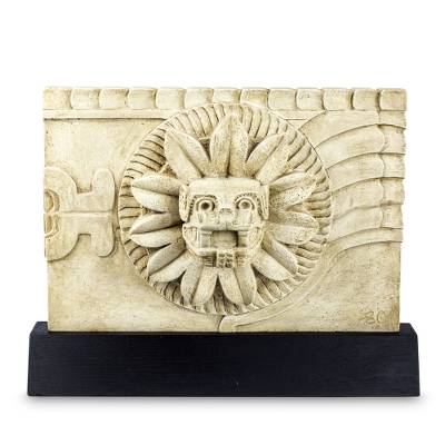 Sculpture, 'Quetzalcoatl' - Aztec Feathered Serpent Deity Sculpture with Stand