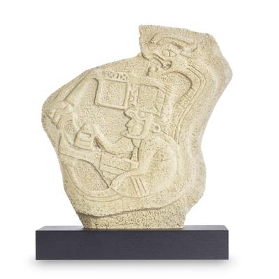 Sculpture, 'Quetzalcoatl and the Priest' - Pre-Hispanic Replica Sculpture