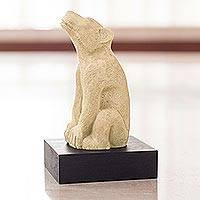 Sculpture, 'Xoloitzcuintle' - Aztec Dog Sculpture with Stand