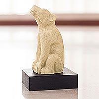 Sculpture, 'Xoloitzcuintle' - Aztec Dog Sculpture with Stand