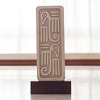 Sculpture, 'Song of Birds' - Aztec Glyph Like Sculpture with Stand