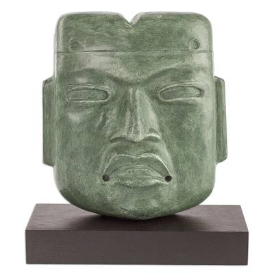 Sculpture, 'Olmec Mortuary Mask' - Green Mask Sculpture with Wood Stand