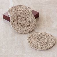 Resin coasters, 'Mexica Sun Stone' (set for 4) - Wooden Aztec Calendar Coasters (Set of 4)