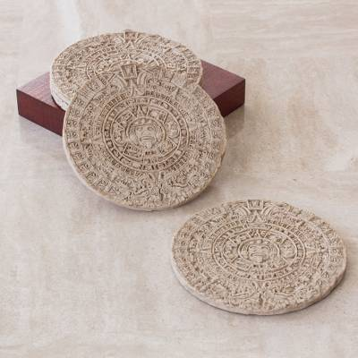 Wooden Aztec Calendar Coasters Set Of 4 Stones Of The Five Eras