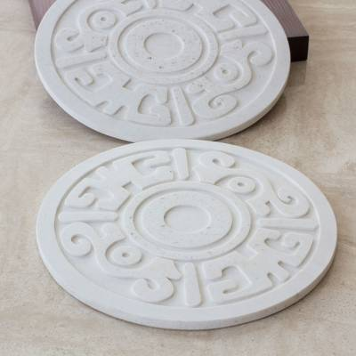 Resin hot pads, 'Ancient Flower' (Pair) - Pre-Hispanic Theme Resin Trivets (Pair)