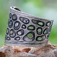 Sterling silver cuff bracelet, 'Miro Inspiration' - Surreal Sterling Silver Cuff Bracelet