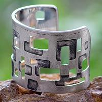 Sterling silver cuff bracelet, 'Mondrian Inspiration' - Original Sterling Silver Cuff Bracelet