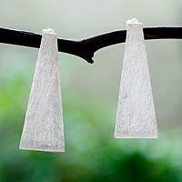 Sterling silver drop earrings, 'Barragan Inspiration' - Pyramidal Sterling Silver Modern Earrings