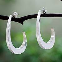 Sterling silver half-hoop earrings, 'Eventuality' - Modern Style Sterling Silver Earrings