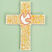 Glass mosaic cross, 'Illuminated Dove' (small) - Hand Crafted Glass Mosaic Wall Cross