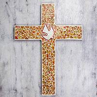 Glass mosaic cross, 'Illuminated Dove' (large) - Hand Crafted Glass Mosaic Wall Cross (large)