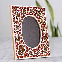 Glass mosaic photo frame, 'Glistening Earth' (4x6) - Artisan Crafted Glass Mosaic Photo Frame (4x6)