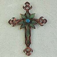 Steel wall art, 'Living Faith' - Cross Sculpture