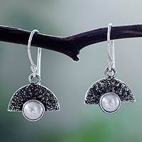 Cultured pearl dangle earrings, 'Bold Harmony' - Grey Pearl on Modern Sterling Silver Earrings