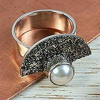 Cultured pearl cocktail ring, 'Bold Combination' - Grey Pearl on Modern Sterling Silver Cocktail Ring