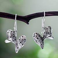 Silver dangle earrings, 'Aztec Nopal' - 950 Silver Cactus Dangle Earrings