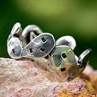 Silver band ring, 'Taxco Nopal' - Cactus-shaped Silver Band Ring